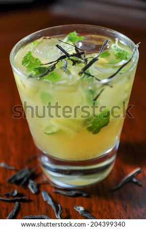Green Tea Mojito close up  - stock photo