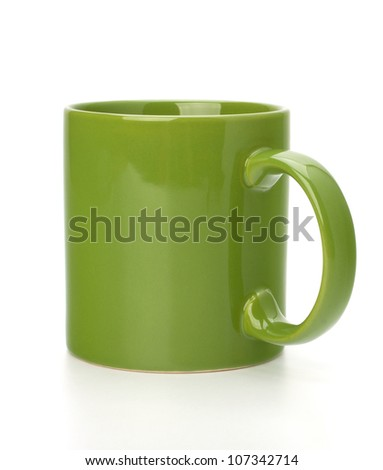 Green tea mug or cup isolated on white background cutout - stock photo