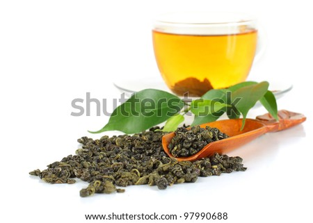 Green tea on white - stock photo