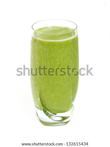 Green tea smoothie isolated on white background. - stock photo