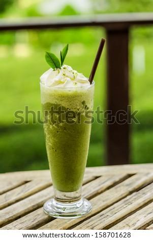 Green tea smoothies - stock photo