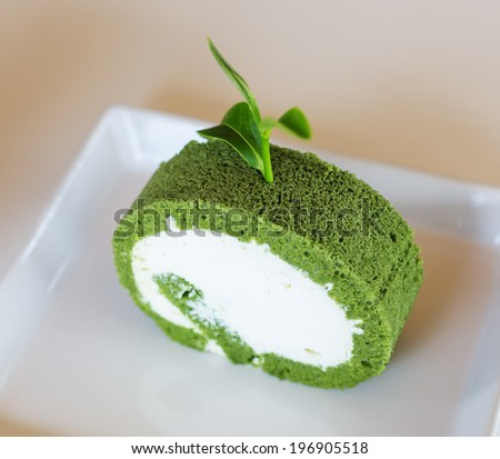Green Tea Swiss Roll Cake