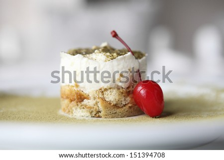 green tea tiramisu - stock photo