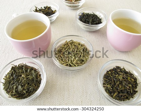 Green tea varieties and two cups of tea