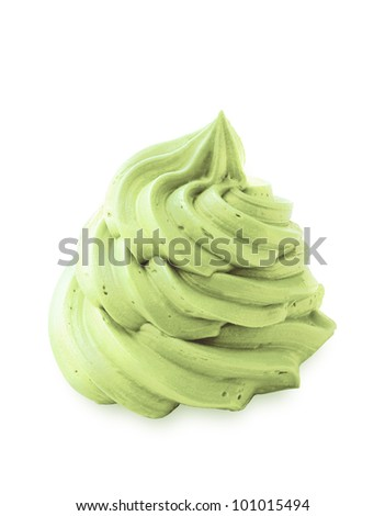Green tea whipped ice cream on white - stock photo
