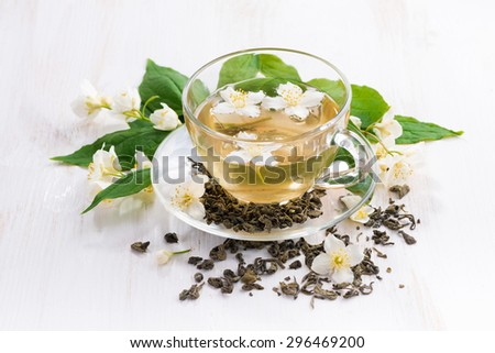green tea with jasmin, top view - stock photo