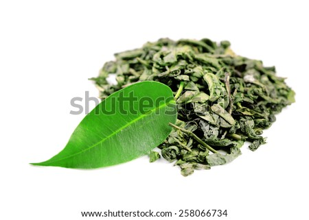 Green tea with leaf isolated on white  - stock photo
