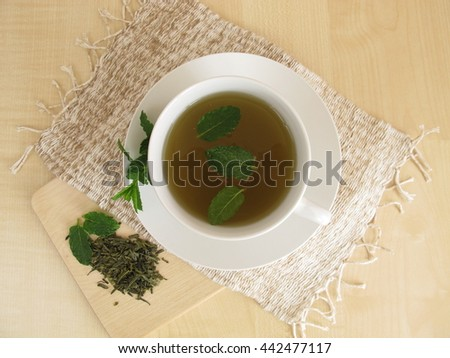 Green tea with mint leaves