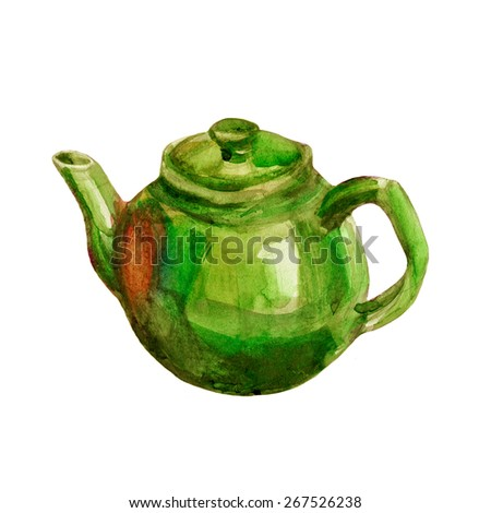 Green teapot watercolor illustration isolated on white background, hand drawn paint sketch dishware for design tea, restaurant and cafe menu, natural organic food, template label, sticker, printing