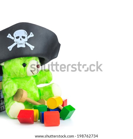 Green teddy Bear and a Book - stock photo