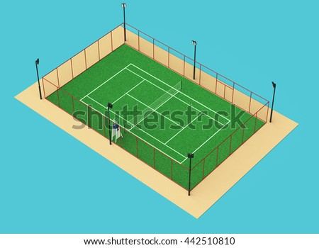 green tennis court high quality detailed grass 3d render sports field isolated