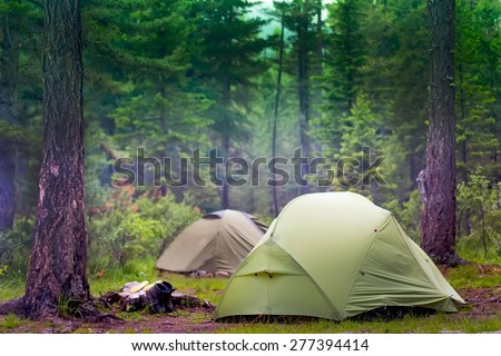 green tents are in the green misty forest - stock photo
