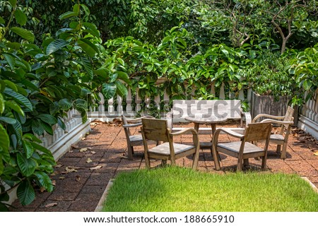 Green terrace with table wood