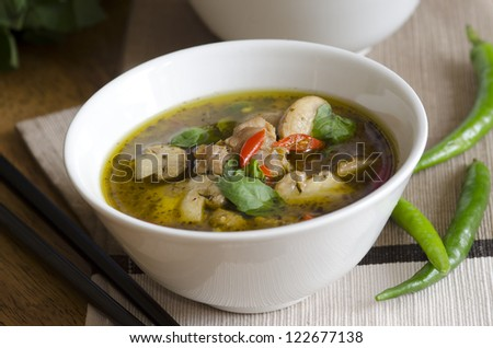 Green Thai chicken and mushroom soup with chillies and basil