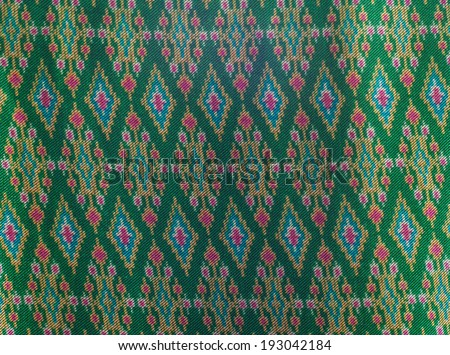 Green thai sarong pattern made from silk