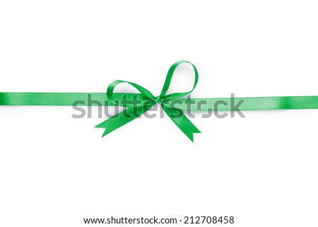 green thin ribbon with bow, isolated on white - stock photo