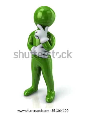 Green thinking man isolated on white background
