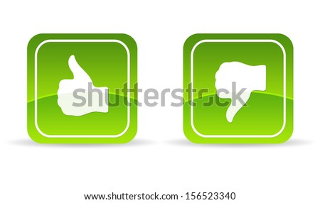 Green thumbs up and down Icon - stock photo