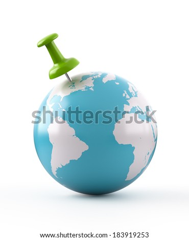 Green Thumbtack on Globe , Elements of this image furnished by NASA