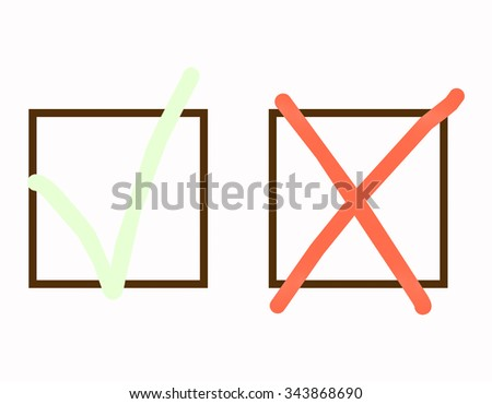 Green tick and red cross - stock photo