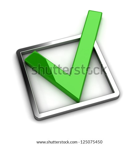 Green tick. 3d illustration on white background - stock photo