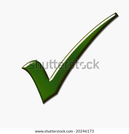 Green tick isolated over white - stock photo