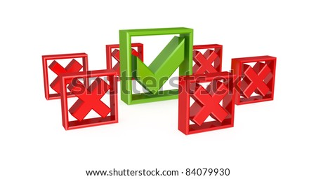Green tick mark among red cross marks. 3d rendered. Isolated on white. - stock photo