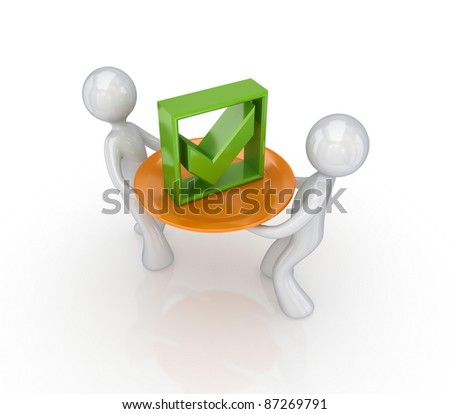 Green tick mark on a dish.Isolated on white background.3d rendered. - stock photo