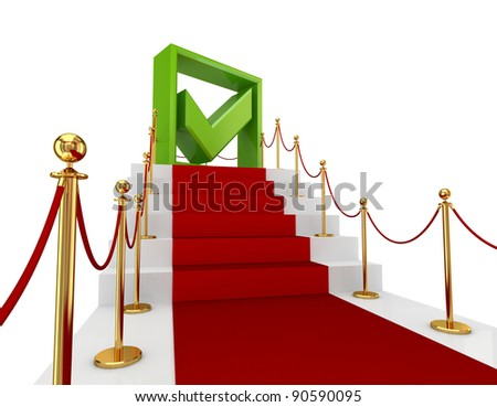 Green tick mark on a red staircase.Isolated on white background.3d rendered.