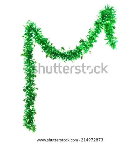 Green tinsel with stars. Isolated on a white background.