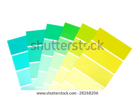 green to blue color paint chips - stock photo