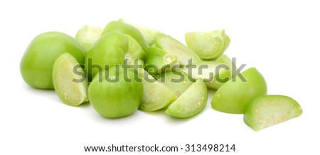 green tomato slices isolated on white