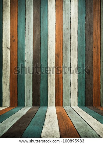 Green Tone old wood wall and floor for web page background