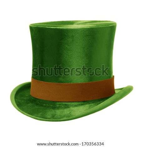 Green Top Hat with brown band, isolated against a white background - stock photo
