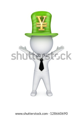 Green top-hat with symbol of Yen.Isolated on white background.