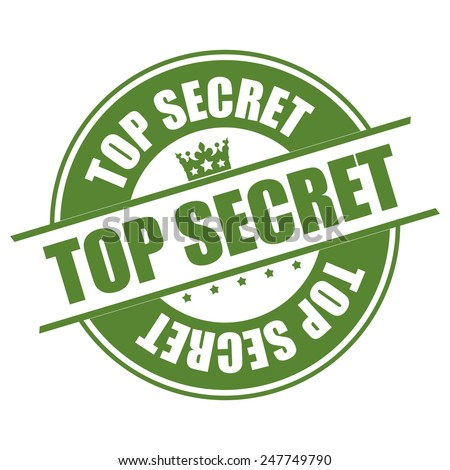 Green Top Secret Sticker, Icon or Label Isolated on White Background  - stock photo