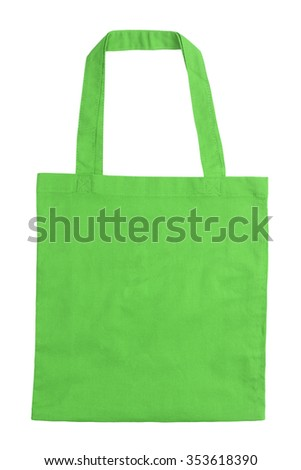 Green tote bag isolated on white background
