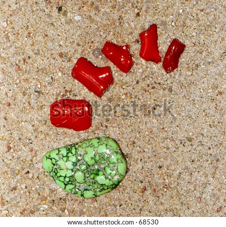 Green tourqouis and red coral