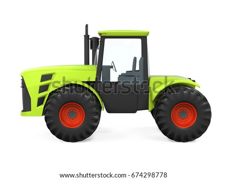 Green Tractor Isolated. 3D rendering