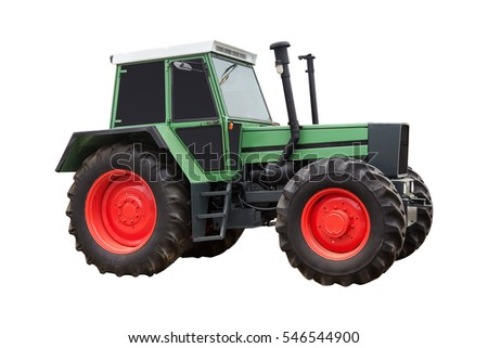 green tractor isolated on white background with clipping path