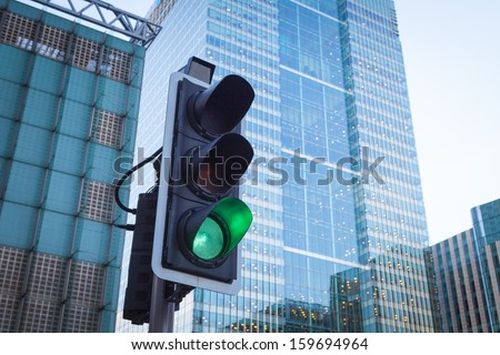Green Traffic Light in the city  - stock photo