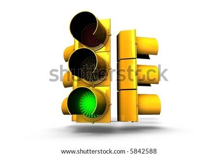 Green Traffic light signal - stock photo