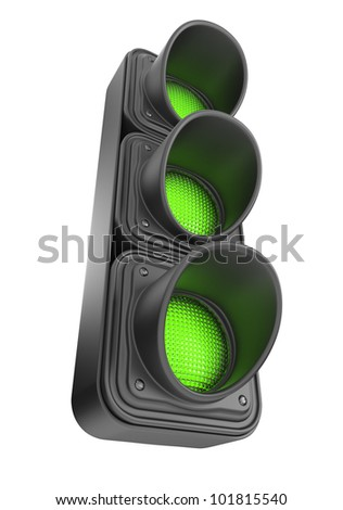 Green traffic lights 3d. Movement road control. Isolated on white background
