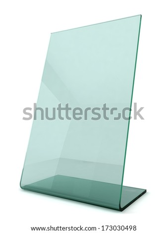 Green transparent ad plate. 3d illustration on white background  - stock photo