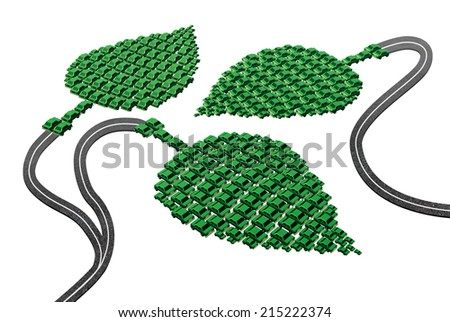 Green transport concept as a group of cars in a leaf shape connected with roads as a metaphor for alternative fuel as electric power biofuel or fuel cell hydrogen for the future of eco transportation - stock photo