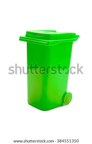 green trash can isolated on white background
