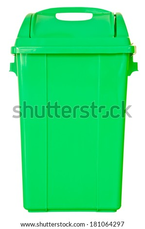 green trash on isolated white background, clipping path.