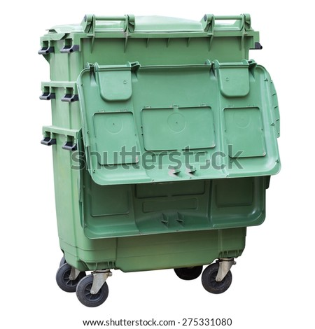 Green Trashcan isolated on white background with work path  - stock photo