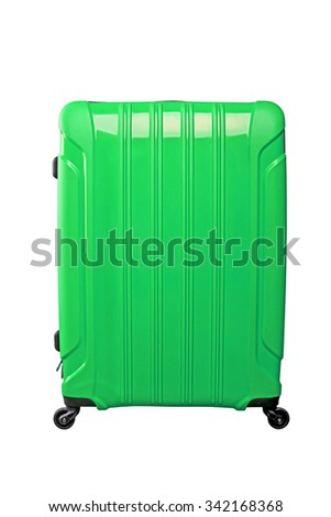 Green travel bag on wheels, isolated on white background.