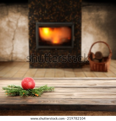 green tree and fireplace
